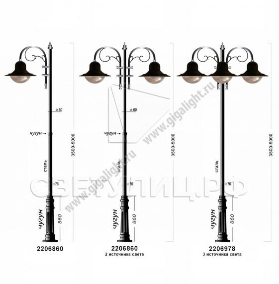 Садово-парковые светильники 2206, 2213 5