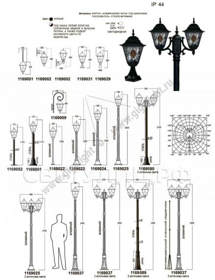 Садово-парковые светильники 1169 1