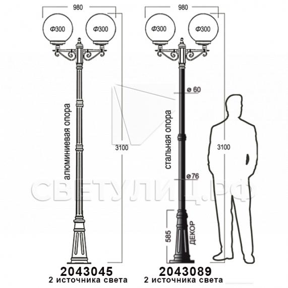 Садово-парковые светильники 1155, 1017, 2043, 2106 23