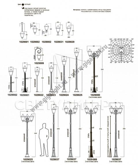 Садово-парковые светильники 1029 1