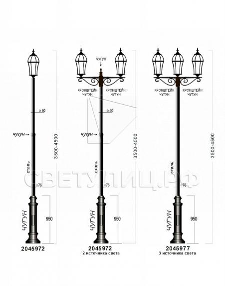 Садово-парковые светильники 1019, 2045 3