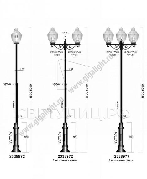 Садово-парковые светильники 2338, 2423 3