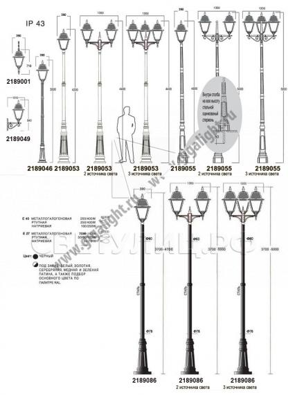 Садово-парковые светильники 1002, 1009, 2039, 2189 5