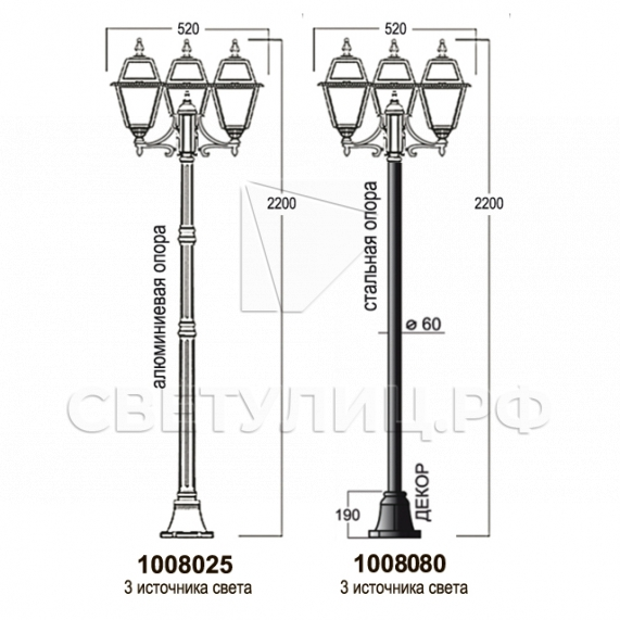 Садово-парковые светильники 1008 12