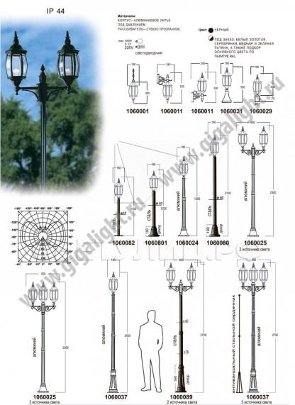 Садово-парковые светильники 1060 1