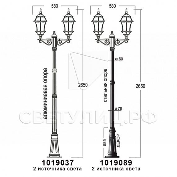 Садово-парковые светильники 1019, 2045 19
