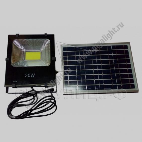 Прожектор светодиодный на солнечной батарее 30 Вт - 5853 в Актобе 0