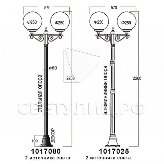 Садово-парковые светильники 1155, 1017, 2043, 2106 13
