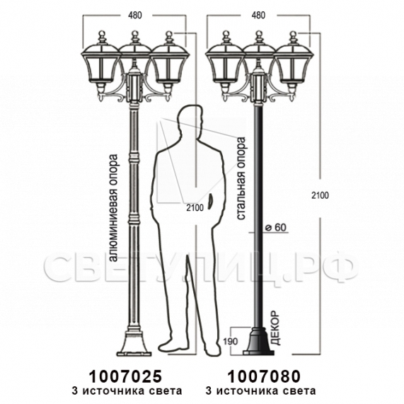 Садово-парковые светильники 1007 11