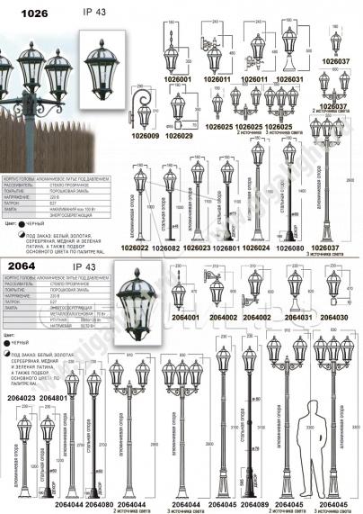 Садово-парковые светильники 1026, 2064 в Актобе 1
