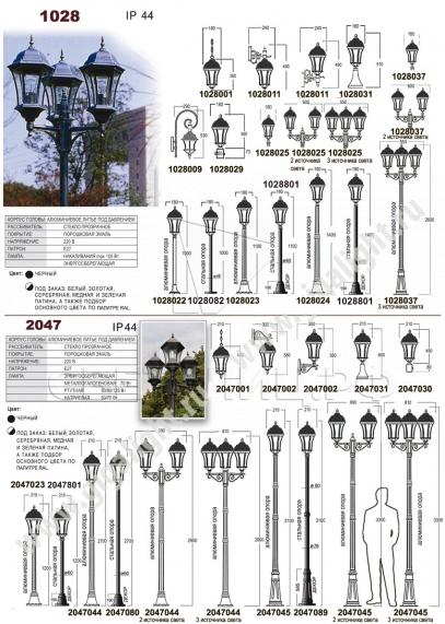 Садово-парковые светильники 1028, 2047 1
