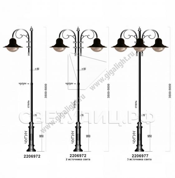 Садово-парковые светильники 2206, 2213 6