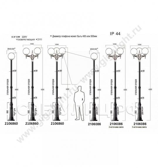 Садово-парковые светильники 1155, 1017, 2043, 2106 2