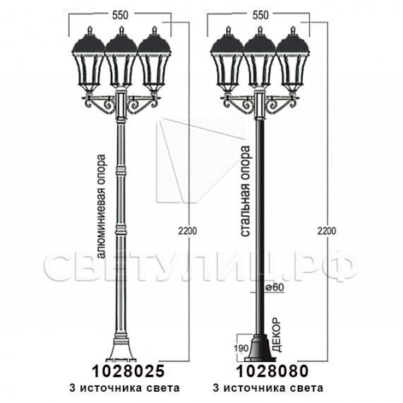 Садово-парковые светильники 1028, 2047 18