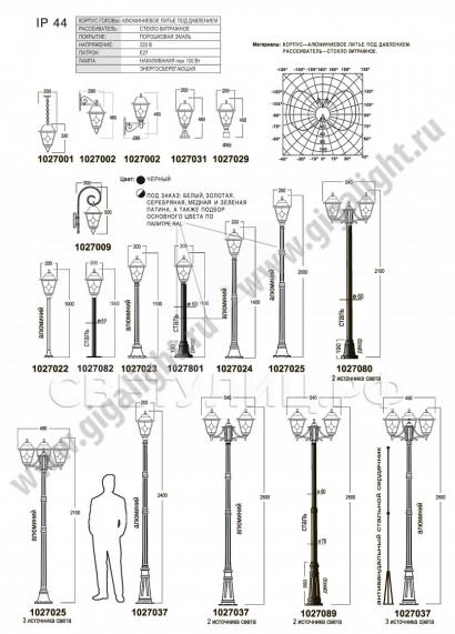 Садово-парковые светильники 1027 1
