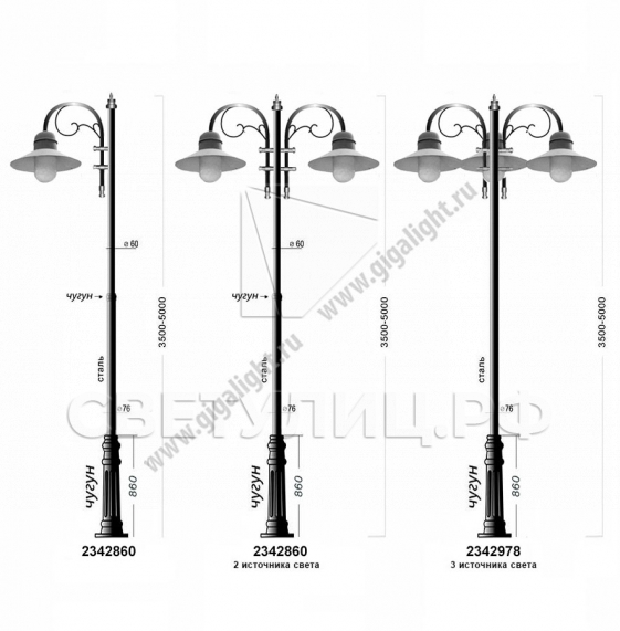 Садово-парковые светильники 1500, 2342 в Актобе 2