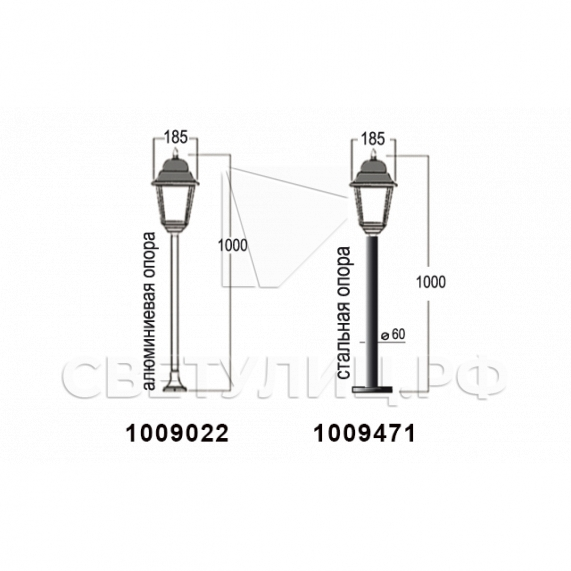 Садово-парковые светильники 1002, 1009, 2039, 2189 21