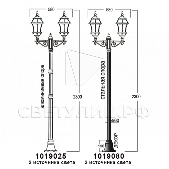 Садово-парковые светильники 1019, 2045 16
