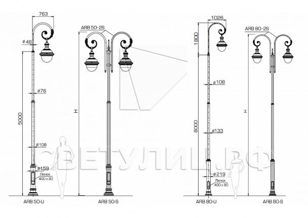 Классическая опора наружного освещения с чугунными элементами Арбат 2 в Актобе 1