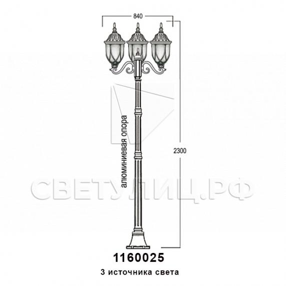 Садово-парковые светильники 1160 12
