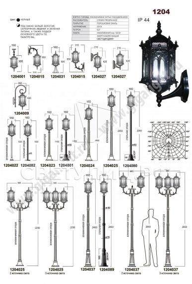 Садово-парковые светильники 1204, 2574, 2573 1