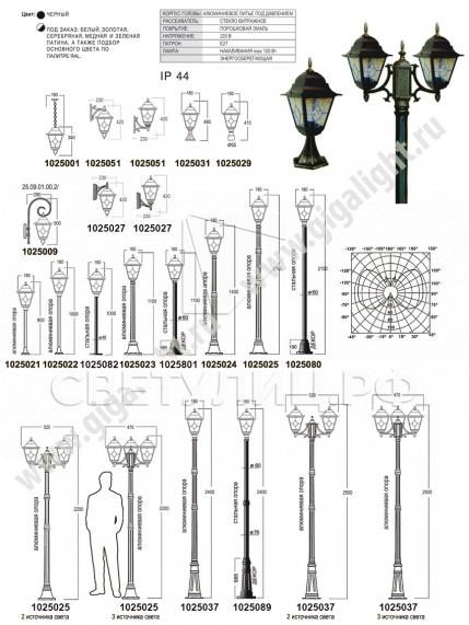 Садово-парковые светильники 1025 1