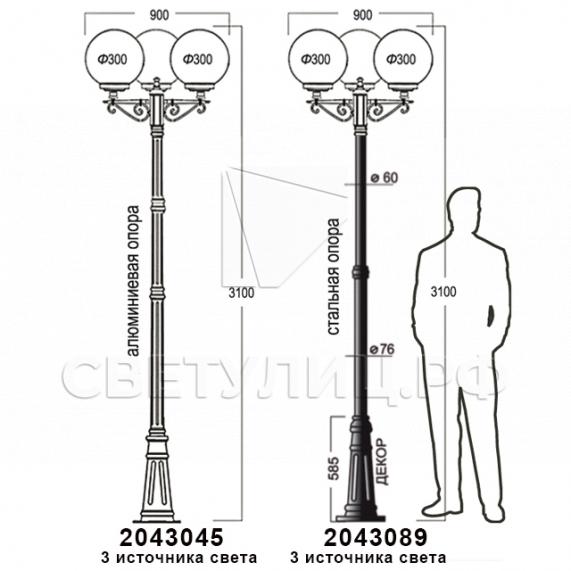Садово-парковые светильники 1155, 1017, 2043, 2106 24
