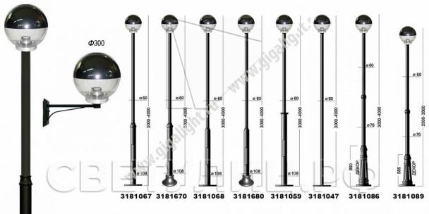Садово-парковые светильники 3181 (d=300) 1