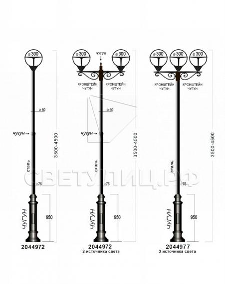 Садово-парковые светильники 1004, 1018, 2044 4