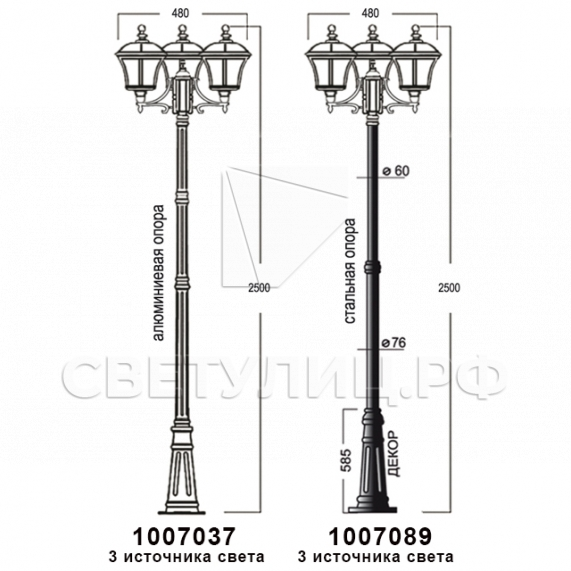 Садово-парковые светильники 1007 14