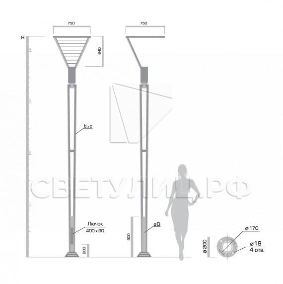 Светодиодная уличная опора освещения Иматра LED в Актобе 1
