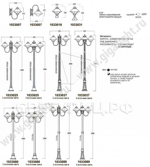 Садово-парковые светильники 1033 1