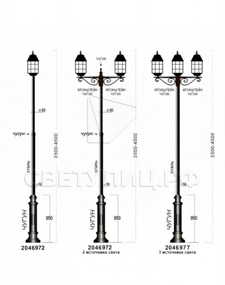 Садово-парковые светильники 1022, 2046 3