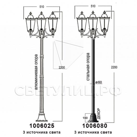 Садово-парковые светильники 1006 14
